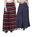 TASHI Printed Poly Crepe Stylish Combo Plazzo Pants for Women Pack of 2