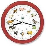 KOOKOO KidsWorld fresa roja, reloj de pared genuino, sonidos de animales naturales, 12 animales de la ganja, ilustraciones Monika Neubacher-Fesser, sensor de luz