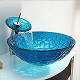 Homelava Glas Waschbecken Set Mediterran Stil Waschschale Rund mit Wasserfall Wasserhahn