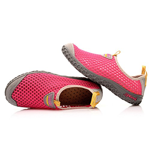 Eagsouni® Unisexe Chaussures deau Water Shoes Respirante Mesh Séchage Rapide Chaussons Pour Sport Aquatique de Plage Rouge
