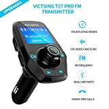 #10: FM Transmitter, VicTsing Bluetooth Hands-Free Car Kits, Car MP3 Player Radio Adapter with Dual Port USB Car Charger and 3.5mm Audio Port, Supports Power on/off Function, Display Car Battery Voltage and Phone Number, Support TF Card and U Disk Memory up to 32G - Black