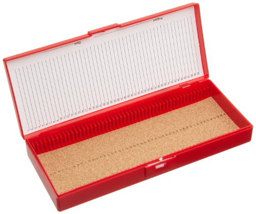 Heathrow Scientific HD15996B Microscope Slide Box, Cork Lined, ABS Plastic, 50 Place, 209 mm Length x 86 mm Width x 55 mm Height, Red