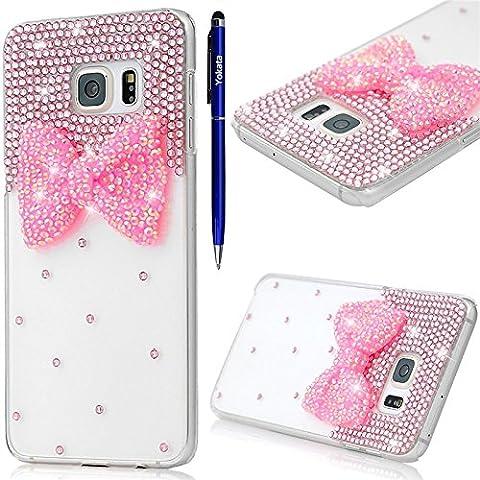Samsung Galaxy S6 Edge Hülle, Yokata Luxury Transparent mit Rosa Bowknot Motiv Case Glitzer Bling 3D Diamant Cover PC Hart Plastik Schutz Creative Schutzhülle + 1 X Stylus Pen