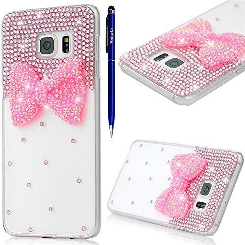 samsung-galaxy-s6-edge-hulle-yokata-luxury-transparent-mit-rosa-bowknot-motiv-case-glitzer-bling-3d-