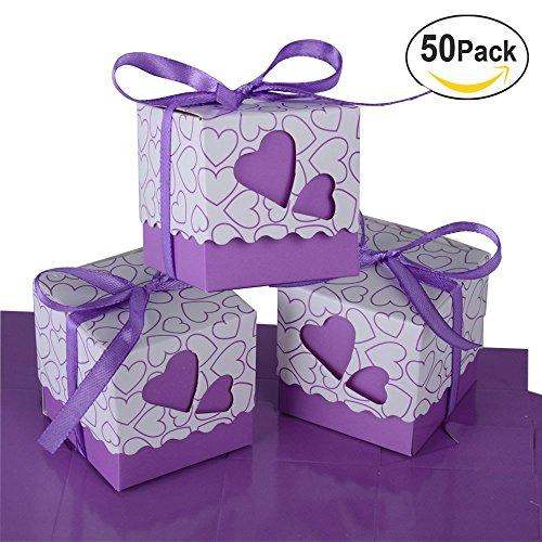 Bomboniere scatola cuore portaconfetti porta confetti segnaposto regalo con il nastro raso 50pz (viola)