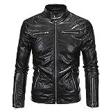 Herren Mock Hals Punk Motorrad Zip Outwear Faux Leder Wash and Wear Jacken Coats (Schwarz,L)