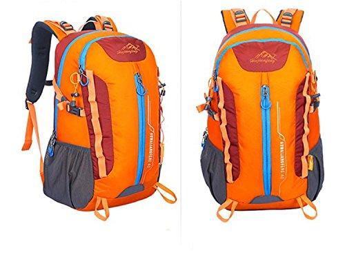40L Backpack Outdoor Sports Large Kapazität Portable Nylon Oxford Rucksack Wandern Traveling Bergsteigen Multifunktion Double Schulter Tasche H32 x W50 x T22 cm Orange