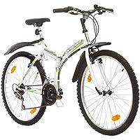 Multibrand, PROBIKE FOLDING MTB 26, 26 pollici, 457mm, Mountain Bike pieghevole, 18 velocità, Full Suspension, Unisex, , grigio verde, 26 inch (Bianco/Verde-Grigio + Parafango, 26x18)