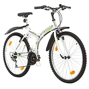 51OJnhY147L. SS300 Multibrand, PROBIKE Folding MTB 26, 26 Pollici, 457mm, Mountain Bike Pieghevole, 18 velocità, Full Suspension, Unisex, Grigio Verde, 26 inch