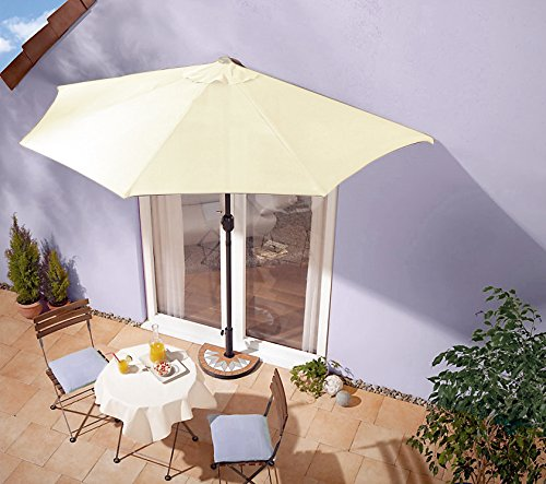 IMC Sonnenschirm beige mit Kurbel – halbrund