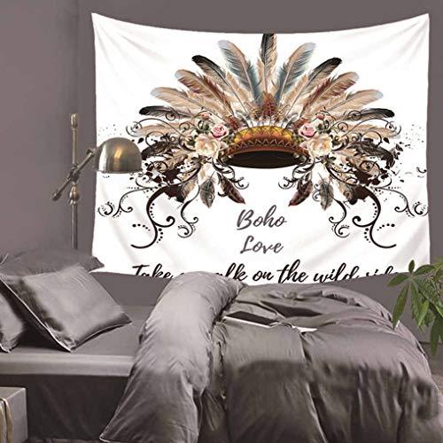 Baisheng Indian Mandala Wandbehang Tapisserie Hippie Wandteppiche Bettwäsche Tagesdecke, Picknick Strand Blatt, Tischdecke, dekorative Wandbehang (Indischer Kopfschmuck- 59x66 Inch/150x170 ()