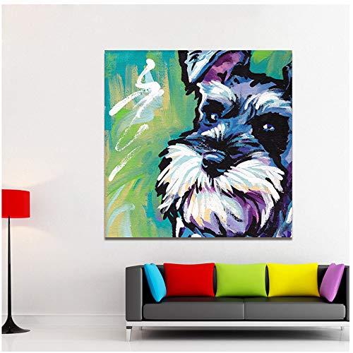 nobrand Moderne Tier Abstrakte Leinwand Kunst Schnauzer Hund Pop Art Wandbilder Für Wohnzimmer Wohnkultur Drucke Painting-80x80cm Kein Rahmen -