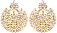 Aheli Elegant Wedding Party Wear Drop Dangle Indian Kundan with Pearl Outline Earrings Ethnic Traditional Jewe