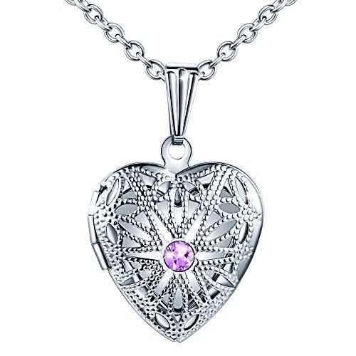 delstahl Foto Medaillon Photo Bilder Amulett Lila Zirkonia Silber Herzanhänger Halskette mit Geschenkbox Grußkarte ()