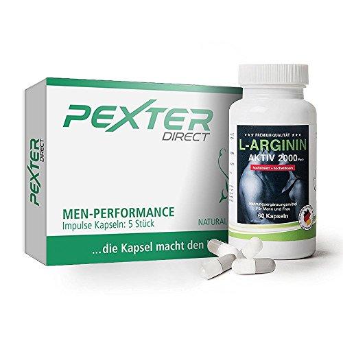 PEXTER-direct (5 Kapseln) & L-Arginin 2000mg (60 Kapseln) hochdosiert - 100% Natural, Herbal - Hilfe bei Lustlosigkeit - Kombiangebot (Herbal-supplement-60 Kapseln)