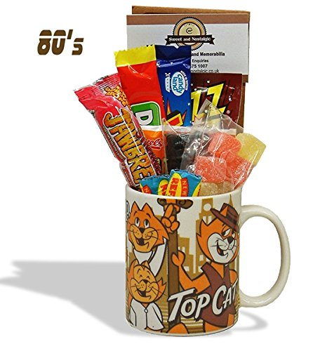 Top Cat Mug with a Tip Top Selection of 1980's Sweets