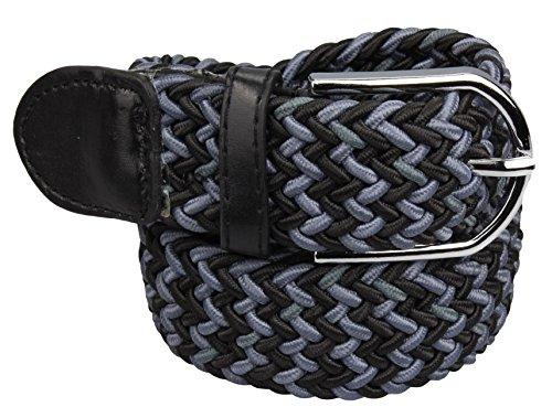 Alex Flittner Designs Elastischer Stoffgürtel Geflochtener Stretchgürtel Dehnbarer Gürtel für Damen und Herren in schwarz/grau Gesamtlänge 120cm