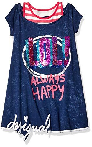 Desigual Mädchen Kleid Girl Knit Dress Short Sleeve (Vest_Jackson), Blau (Navy 5000) 152 (Herstellergröße: 11/12)