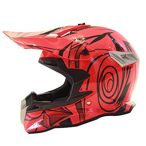 533 Quad (Full Face Downhill Offroad Motorrad HelmOutdoor Sport Sicherheit ATV Motorrad Helm Sonnenblende Quad Fahrradhelm Erwachsene Schutzbrille/Winddichte Maske/Handschuhe,S)