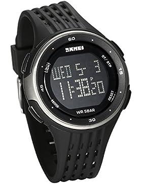 JewelryWe Kinder Digital Armbanduhr, Multifunktion 50M Wasserdicht Sport Uhren mit 2 Zeitzonen, LED Beleuchtung...