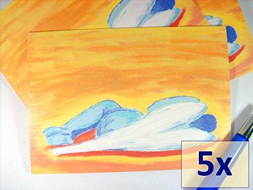 grukarten-set-5x-schlafender-engel-auf-leinenstrukturkarton-innen-beschreibbar-kunstkarten-beileidsk
