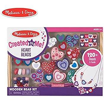 ac02eda2d50e Melissa & Doug Created by Me! Heart Beads Wooden Bead Kit, 120+ Beads and 5  Cords for Jewelry-Making
