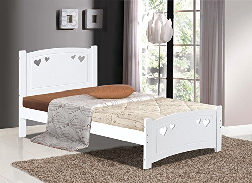 Heart White Wooden Slatted Bed in 4FT Small Double (120 x 190cm)