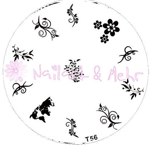 Pochoir de stamping # T 56 Tribals, fleurs, Ranken
