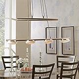 Stylehome® 20W LED Hängelampe Höhenverstellbar Kronleuchte Hängeleuchte Deckenlampe Esszimmer Wohnzimmer 4035-4C Chrom 20W Warmweiss (A++)