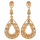 Maayra Pretty Gold Stone Crystals Party Drop Earrings best price on Amazon @ Rs. 850