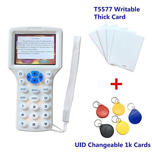 RFID NFC Lecteur de Carte Writer Copieur 10 Programmeur de Fréquence pour Toutes Les Cartes 125kHz Paquet avec 5pcs T5577 Cartes Epaisses Inscriptibles + 5Pcs UID Variables Tags 1k