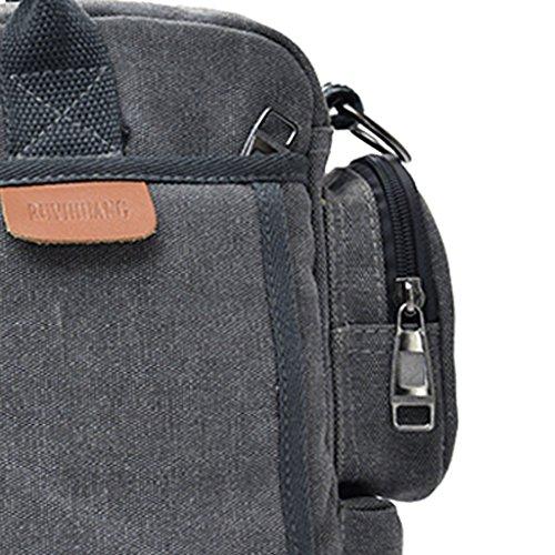 Gazechimp Vintage Umhängetasche Herren Schultertasche Messenger Bag Aktentasche Freizeit Handtasche Mode Messengertasche Grau