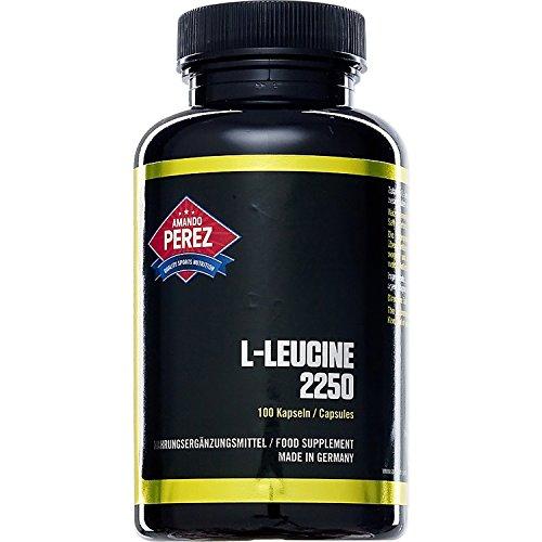 L-leucine - 2250 mg par dose - 100 capsules - acide aminé essentiel pour la synthèse des protéines musculaires ampoulé