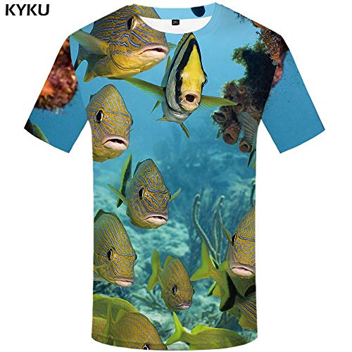 fdec42aae KYKU Marca Fish T Shirt para Hombre de Gran tamaño Fishinger Tropical Camise ta Impresa Hombres Camiseta 3D Camisetas Divertidas Animal Blanco ...