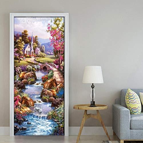 FCFLXJAdesivi porta 3D DIY Ldyllic pittura a olio paesaggio porta adesivi in   PVC materiale impermeabile porta poster wall stickers soggiorno decorazione auto-adesivo di carta 77x200 cm