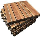 'click-deck Anti Slip Hartholz Decking Fliesen 4Slat mit Griff * Anti-Slip Böden Fliesen, Patio, Balkon, Dach, Whirlpool für die Terrasse Deck Parkett Fliesen Böden, braun
