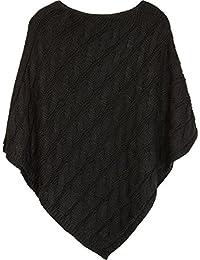 styleBREAKER Poncho en Maille avec Un Motif tressé, Poncho tricoté à col  Rond, Maille épaisse, Femme… f79cd9119080