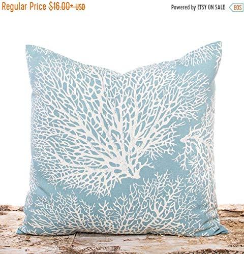 Betsy34Sophia Light Blue Beach Kissen Korallen Kissen blau und wei? nautischen Strand Home Decor Ocean Coral Throw Pillow Couch Kissen -