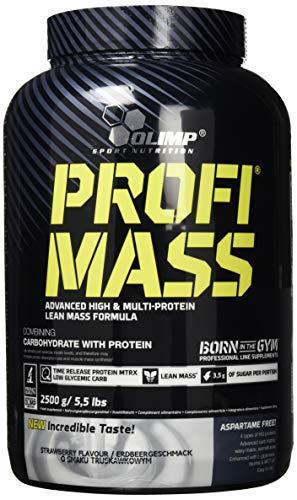 Olimp Profi Mass | Weight Gainer mit Kohlenhydrate, Whey Eiweißmischung Pulver, Vitaminen, Taurin und Glutamin | Erdbeere Geschmack | 2,5 kg