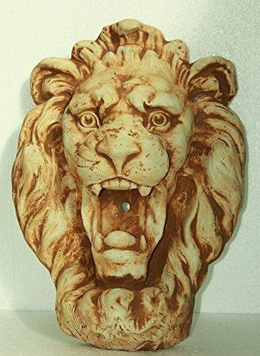 Steinfigur Löwenkopf, Patiniert, Wasserspeier für die Wand, aus Steinguss