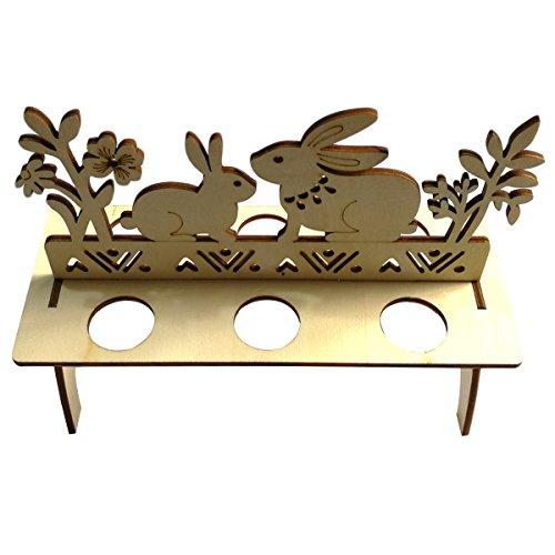 Luoem - portauova, decorazione pasquale, motivo: conigli, in legno non dipinto