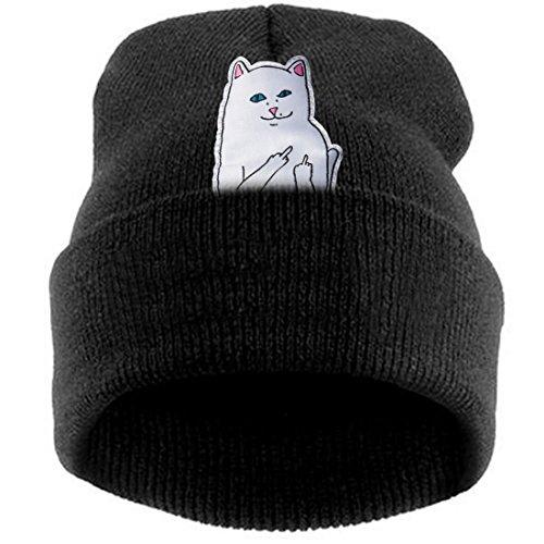 Belsen Damen aufrecht Mittelfinger Katze Hiphop Beanie Strick Mütze Skull Cap (schwarz)