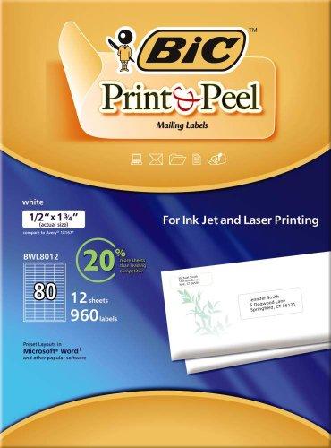 BIC Etiquettes de publipostage - 12,7 mm x 44,5 mm - 80 étiquettes/feuille - 12 feuilles/paquet - Blanches (BWL8012)
