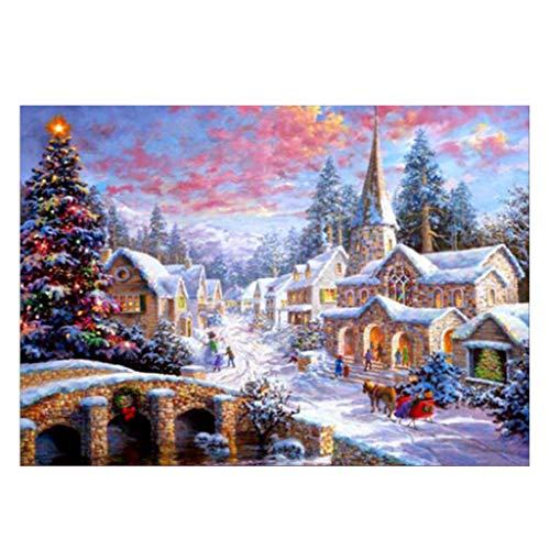 Wanfor Snow Scene 5D DIY Full Diamond Paintings Embroidery Cross Craft Stitch Kit,12inx16in,No Border