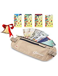 "Travel Money Belt With 4 RFID Protection Card Sleeves €"" Hidden Waist Wallet And Waist Stash €"" Travel..."