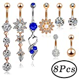 Outee 8 pieces Belly Button Rings Stainless Steel ball belly Bar Button ring
