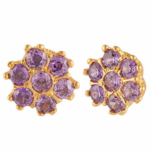 Archi Collection Traditional Ethnic Gold Plated Jewellery Purple Earrings Studs for Girls and Women