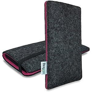 Stilbag maßgeschneiderte Handyhülle FINN - Anfertigung für Smartphones mit Case möglich | Farbe: anthrazit-pink | Smartphone-Tasche aus Filz | Handy Schutzhülle | Handytasche Made in Germany