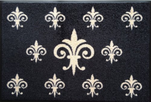 Wash&Dry Waschbare Fußmatte - Fleur de Lis - französische Lilie 50x75 cm schwarz Fußabstreifer