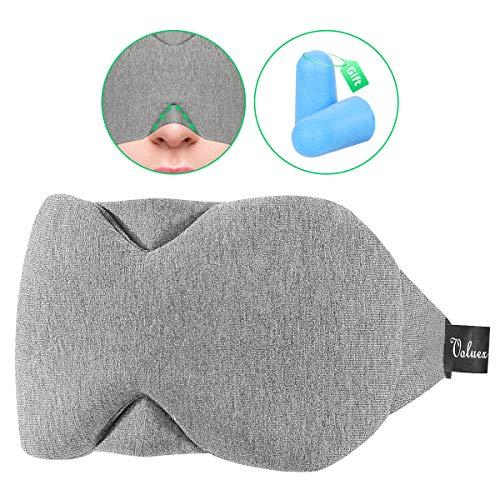 Baumwolle Schlafmaske Damen und Herren, Voluex Schlafbrille mit verstellbarem Band, 100% Lichtblockierung, super weich und komfortabel für Reisen, Schichtarbeit und Nickerchen. Inklusive Ohrstöpsel